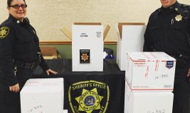 Officers Kelly and Towne at last year's Shed the Meds event