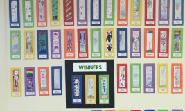 All of the bookmarks for 2016 contest on the wall
