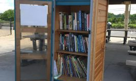 Little Free Library at West Meadow Beach with open door