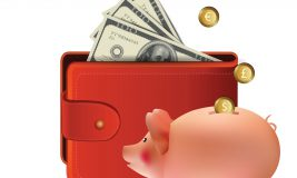 Wallet with money and piggy bank