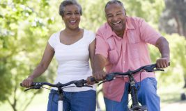 Senior couple on bicycle